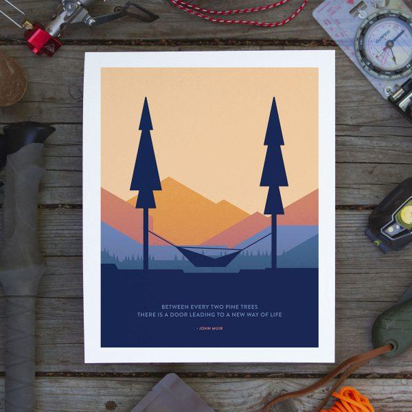 Hammock Between Two Pines Art Poster