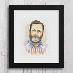 Nick Offerman Watercolor Print