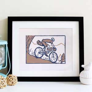 Bikepacker Bicycle Touring Linocut block print