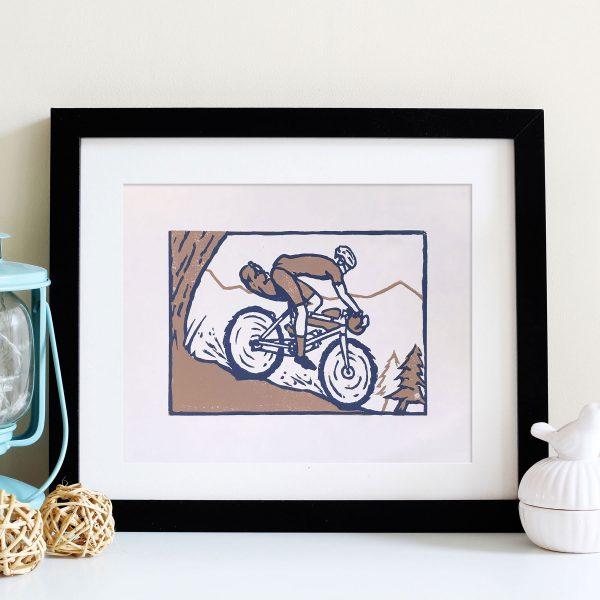Bikepacker Bicycle Touring Linocut block print