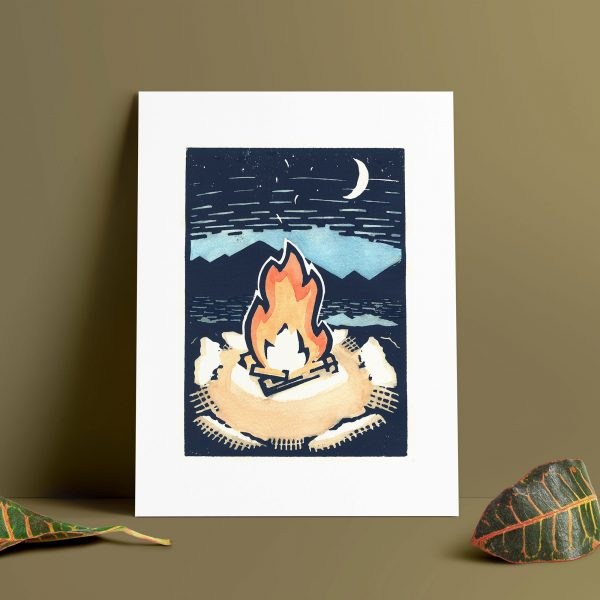 campfire camping linocut block print
